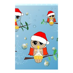 Funny, Cute Christmas Owls With Snowflakes Shower Curtain 48  x 72  (Small)