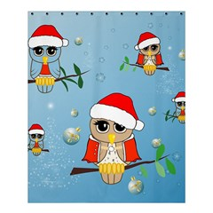 Funny, Cute Christmas Owls With Snowflakes Shower Curtain 60  x 72  (Medium)