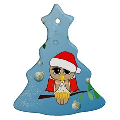 Funny, Cute Christmas Owls With Snowflakes Christmas Tree Ornament (2 Sides)
