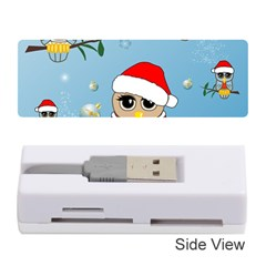 Funny, Cute Christmas Owls With Snowflakes Memory Card Reader (Stick)
