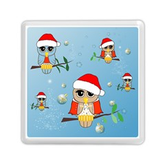Funny, Cute Christmas Owls With Snowflakes Memory Card Reader (Square)