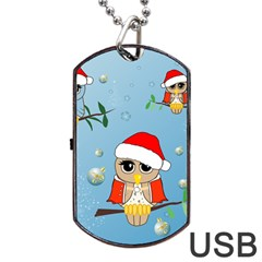 Funny, Cute Christmas Owls With Snowflakes Dog Tag USB Flash (Two Sides)