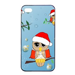 Funny, Cute Christmas Owls With Snowflakes Apple Iphone 4/4s Seamless Case (black)