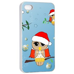 Funny, Cute Christmas Owls With Snowflakes Apple Iphone 4/4s Seamless Case (white)