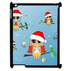 Funny, Cute Christmas Owls With Snowflakes Apple iPad 2 Case (Black)