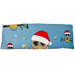 Funny, Cute Christmas Owls With Snowflakes Body Pillow Cases Dakimakura (Two Sides)