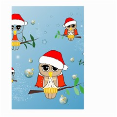 Funny, Cute Christmas Owls With Snowflakes Large Garden Flag (Two Sides)