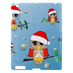 Funny, Cute Christmas Owls With Snowflakes Apple iPad 3/4 Hardshell Case