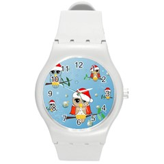 Funny, Cute Christmas Owls With Snowflakes Round Plastic Sport Watch (M)