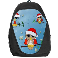 Funny, Cute Christmas Owls With Snowflakes Backpack Bag