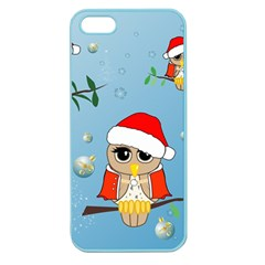 Funny, Cute Christmas Owls With Snowflakes Apple Seamless iPhone 5 Case (Color)