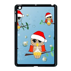 Funny, Cute Christmas Owls With Snowflakes Apple iPad Mini Case (Black)