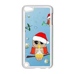 Funny, Cute Christmas Owls With Snowflakes Apple iPod Touch 5 Case (White)