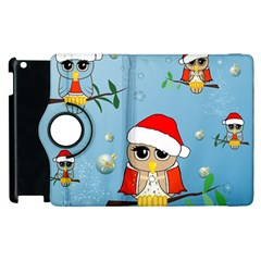 Funny, Cute Christmas Owls With Snowflakes Apple iPad 3/4 Flip 360 Case
