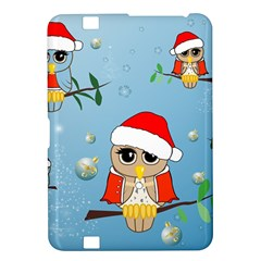 Funny, Cute Christmas Owls With Snowflakes Kindle Fire HD 8.9