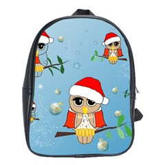 Funny, Cute Christmas Owls With Snowflakes School Bags (xl)