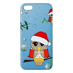 Funny, Cute Christmas Owls With Snowflakes Apple iPhone 5 Premium Hardshell Case
