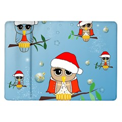 Funny, Cute Christmas Owls With Snowflakes Samsung Galaxy Tab 10.1  P7500 Flip Case