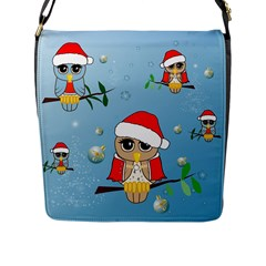 Funny, Cute Christmas Owls With Snowflakes Flap Messenger Bag (L)