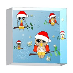 Funny, Cute Christmas Owls With Snowflakes 5  x 5  Acrylic Photo Blocks