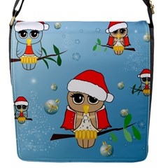 Funny, Cute Christmas Owls With Snowflakes Flap Messenger Bag (S)