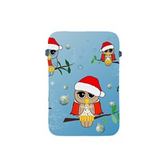 Funny, Cute Christmas Owls With Snowflakes Apple iPad Mini Protective Soft Cases