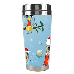 Funny, Cute Christmas Owls With Snowflakes Stainless Steel Travel Tumblers
