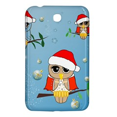 Funny, Cute Christmas Owls With Snowflakes Samsung Galaxy Tab 3 (7 ) P3200 Hardshell Case