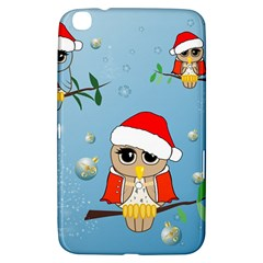 Funny, Cute Christmas Owls With Snowflakes Samsung Galaxy Tab 3 (8 ) T3100 Hardshell Case