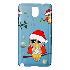 Funny, Cute Christmas Owls With Snowflakes Samsung Galaxy Note 3 N9005 Hardshell Case