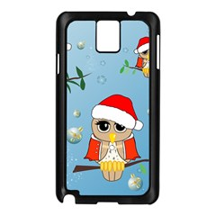 Funny, Cute Christmas Owls With Snowflakes Samsung Galaxy Note 3 N9005 Case (Black)