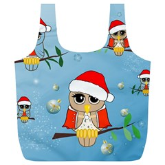 Funny, Cute Christmas Owls With Snowflakes Full Print Recycle Bags (L)