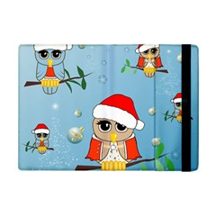 Funny, Cute Christmas Owls With Snowflakes iPad Mini 2 Flip Cases