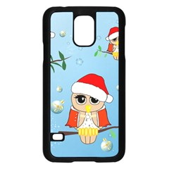 Funny, Cute Christmas Owls With Snowflakes Samsung Galaxy S5 Case (Black)