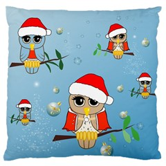 Funny, Cute Christmas Owls With Snowflakes Large Flano Cushion Cases (Two Sides)