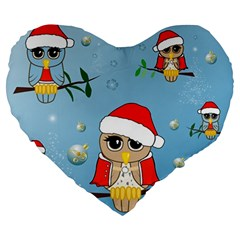 Funny, Cute Christmas Owls With Snowflakes Large 19  Premium Flano Heart Shape Cushions