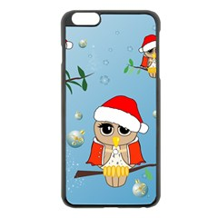 Funny, Cute Christmas Owls With Snowflakes Apple iPhone 6 Plus Black Enamel Case