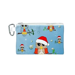 Funny, Cute Christmas Owls With Snowflakes Canvas Cosmetic Bag (S)