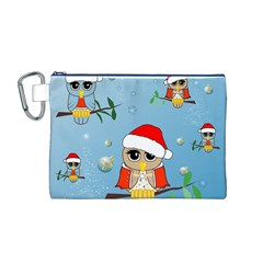 Funny, Cute Christmas Owls With Snowflakes Canvas Cosmetic Bag (M)