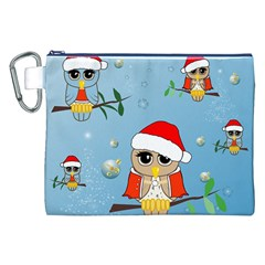Funny, Cute Christmas Owls With Snowflakes Canvas Cosmetic Bag (XXL)