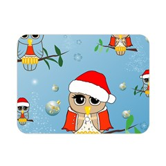 Funny, Cute Christmas Owls With Snowflakes Double Sided Flano Blanket (mini)