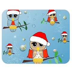 Funny, Cute Christmas Owls With Snowflakes Double Sided Flano Blanket (medium)