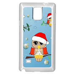 Funny, Cute Christmas Owls With Snowflakes Samsung Galaxy Note 4 Case (White)