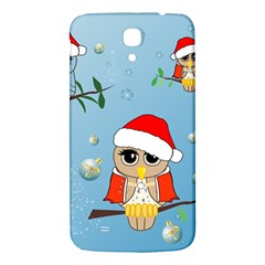 Funny, Cute Christmas Owls With Snowflakes Samsung Galaxy Mega I9200 Hardshell Back Case