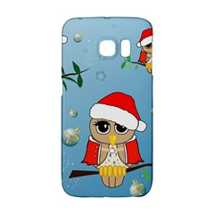 Funny, Cute Christmas Owls With Snowflakes Galaxy S6 Edge