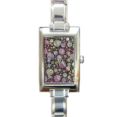 Sweet Allover 3d Flowers Rectangle Italian Charm Watches