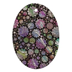 Sweet Allover 3d Flowers Ornament (Oval)