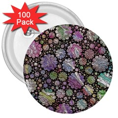 Sweet Allover 3d Flowers 3  Buttons (100 pack)