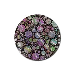 Sweet Allover 3d Flowers Rubber Round Coaster (4 pack)
