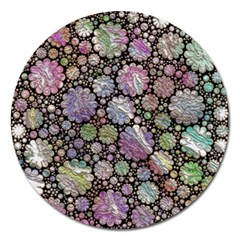 Sweet Allover 3d Flowers Magnet 5  (Round)